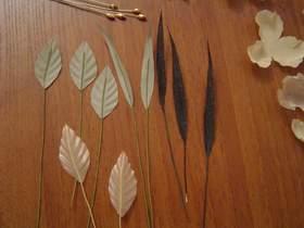 Подклеенные к листьям стебельки